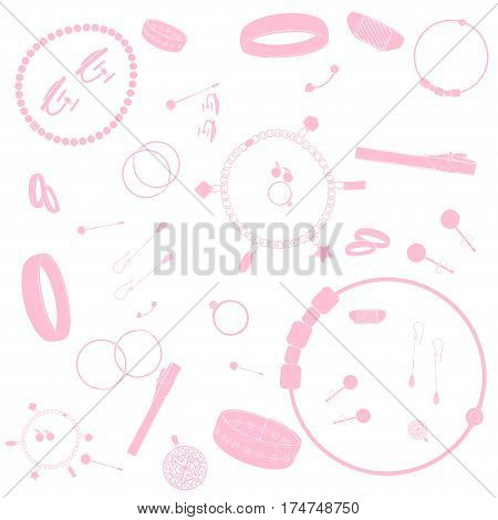 Jewelry illustrations pattern. Pink images, white background