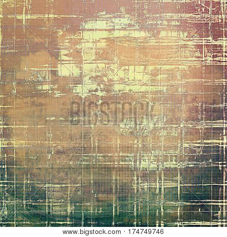 Old school background or texture with vintage style grunge elements and different color patterns: yellow (beige); brown; gray; green; red (orange); pink