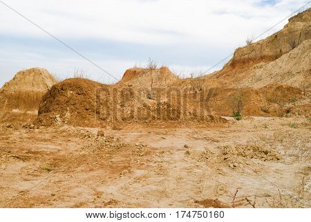 Clay hills in an open pit in Ukraine.