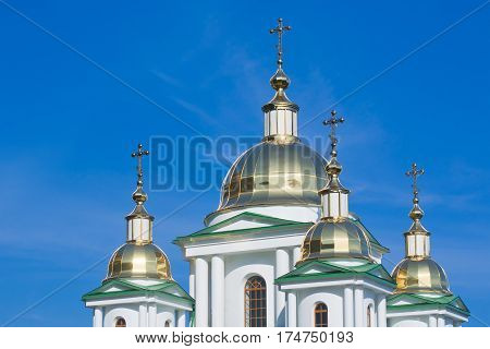 New golden domes of Orthodox Church .