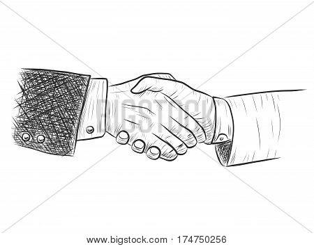 handshake businessman agreement.Sketch handshake vector by hand drawing.