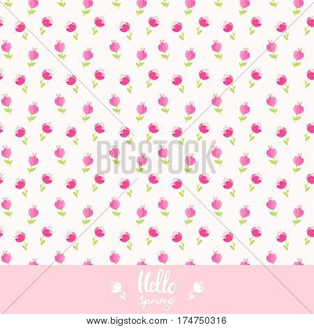 beautiful seamless pattern with gentle flowers and place for text. Vector illustration. Spring bouquet flowers. Greeting card with pink flowers.