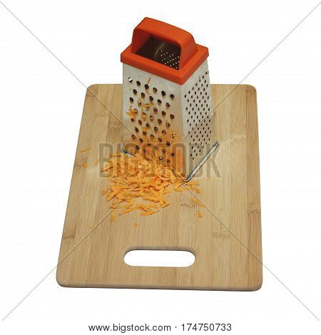 Carrots Grated On The Stands On A Wooden Cutting Board. Isolated On A White Background.