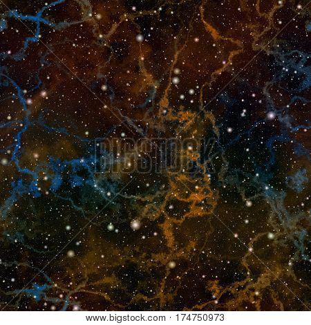 Abstract dark orange and blue universe, Shiny night starry sky, Nebula outer space, Glittering galactic texture background, Seamless illustration