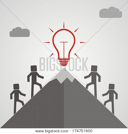 Businessman climbing mountain to accomplish his great big idea. Success determination and work concept. Modern flat style vector illustration.