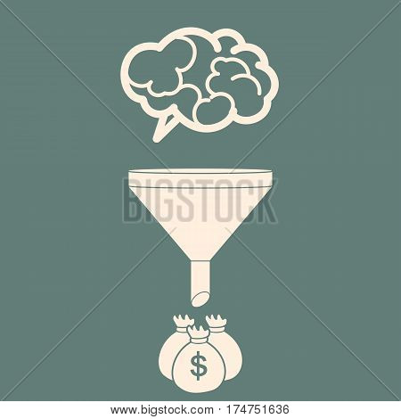Sales Funnel Converting brains into money. Flat Style. Vector Illustration of Data Tunnel and Creative Process.