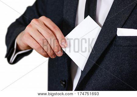 Businessman Putting Paper In Suit Pocket Closeup. Showing Blank Flyer Brochure Booklet. Pamphlet Hol