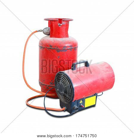 Gas Heat Gun. Equipment For Suspended Ceilings. Red Tank Of Propane And A Gun. Isolated On A White B
