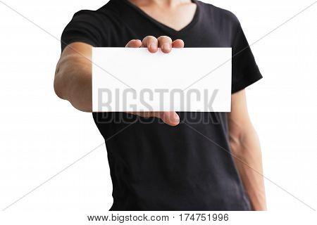 Man Showing Blank White Flyer Brochure Booklet. Leaflet Presentation. Pamphlet Hold Hands. Man Show