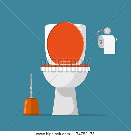 White ceramics toilet, toilet paper and toilet brush. modern toilet set in flat style. Vector illustration