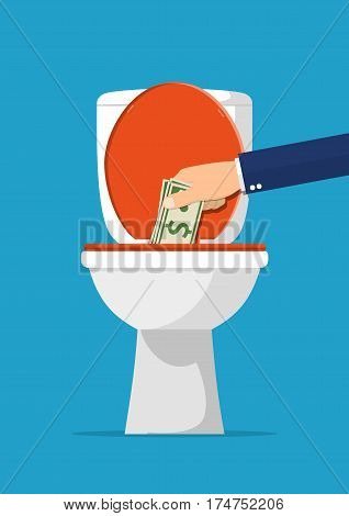 Businessman hand putting dollar bills in toilet. Losing money. Vector illustration in flat style