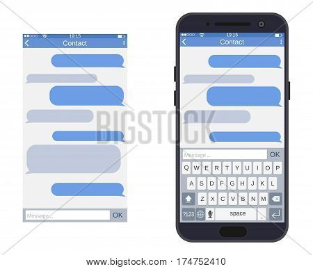Smartphone with messaging sms app, vector illustration in flat style.
