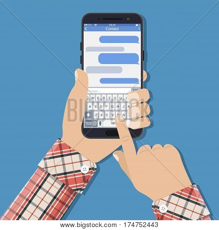 Hands holds smartphone with messaging sms app and sending SMS. Vector illustration in flat style