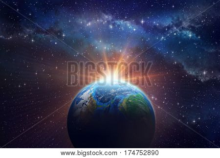 Illuminated face of a planet in outer space a sunny light shining behind - 3D illustration