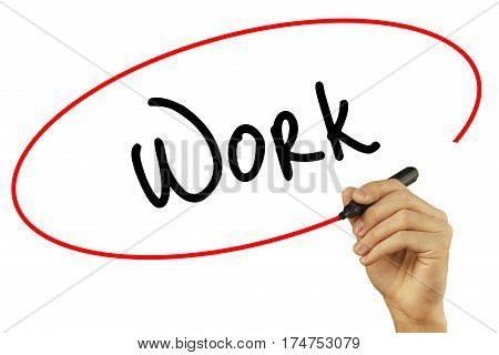 Man Hand Writing Work With Black Marker On Visual Screen. Isolated On Grey. Business, Technology, In