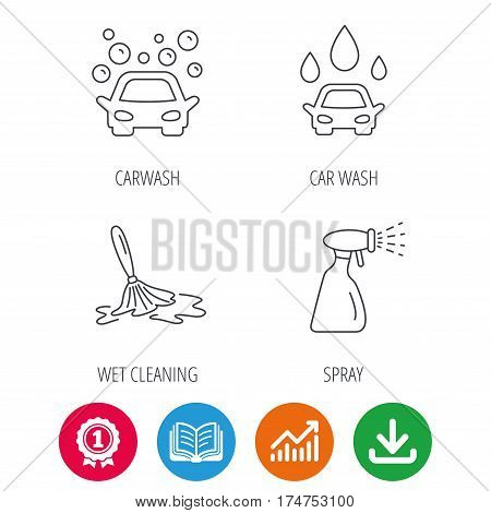 Car wash icons. Automatic cleaning station linear signs. Wet cleaning and spray flat line icons. Award medal, growth chart and opened book web icons. Download arrow. Vector