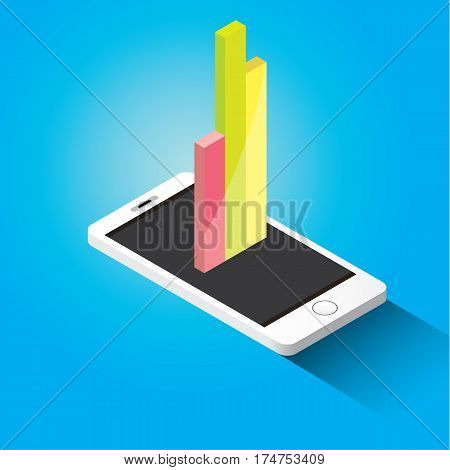 Vector isometric Smartphone with graph and charts on screen isolated on blue background. Mobile analytics or big data concept icon. Mobile infographic design template.