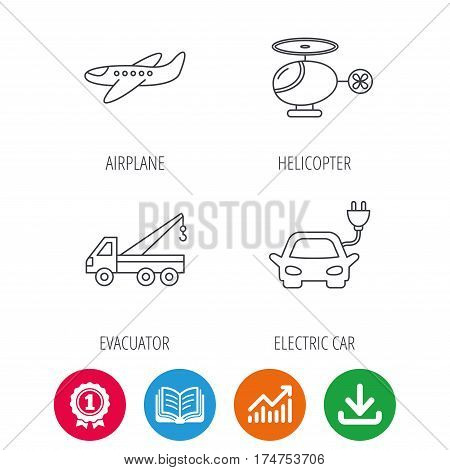 Electric car, airplane and helicopter icons. Evacuator linear sign. Award medal, growth chart and opened book web icons. Download arrow. Vector