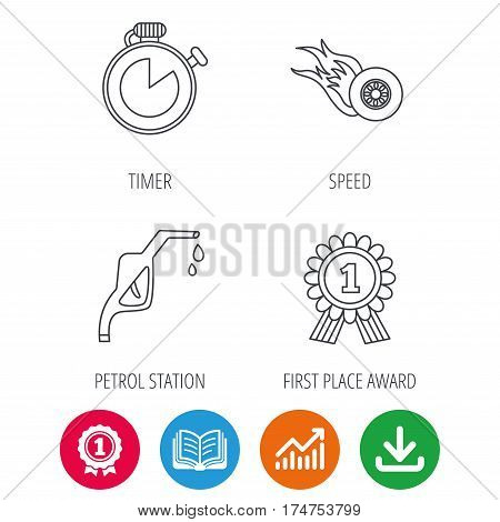 Winner award, petrol station and speed icons. Race timer linear sign. Award medal, growth chart and opened book web icons. Download arrow. Vector
