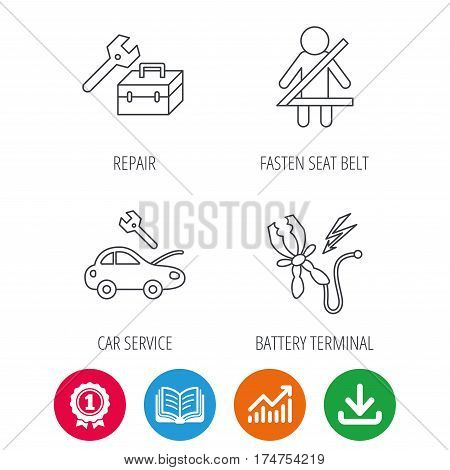 Repair, battery terminal and car service icons. Fasten seat belt linear sign. Award medal, growth chart and opened book web icons. Download arrow. Vector
