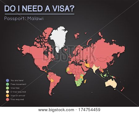 Visas Information For Republic Of Malawi Passport Holders. Year 2017. World Map Infographics Showing