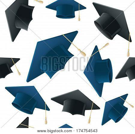 Student Hat Pattern Background on a Light Academic Caps Symbol Finish Education. Vector illustration