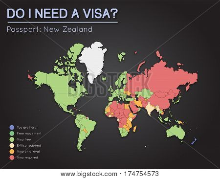 Visas Information For New Zealand Passport Holders. Year 2017. World Map Infographics Showing Visa R