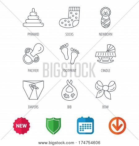 Pacifier, diapers and newborn icons. Footprint, socks and dirty bib linear signs. Pyramid toy, cradle bed flat line icons. New tag, shield and calendar web icons. Download arrow. Vector
