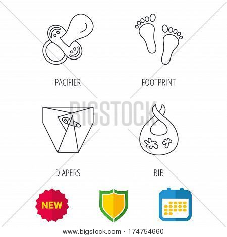 Pacifier, diapers and footprint icons. Dirty bib linear sign. Shield protection, calendar and new tag web icons. Vector