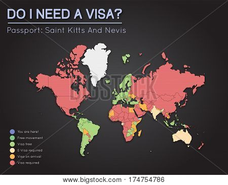 Visas Information For Saint Kitts And Nevis Passport Holders. Year 2017. World Map Infographics Show