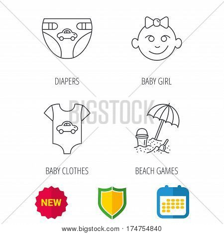 Newborn clothes, diapers and baby girl icons. Beach games linear sign. Shield protection, calendar and new tag web icons. Vector