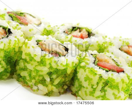 Japanese Cuisine - Sushi Roll with Sea Bass, Tomato and Green Flying Fish Roe