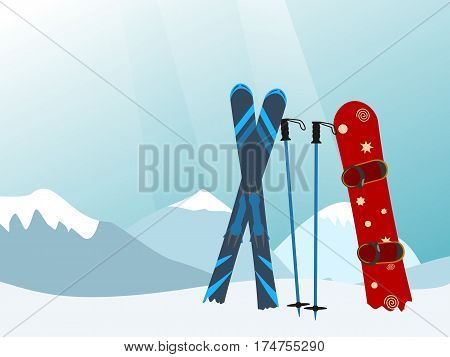 Snowboard and Ski in the Ski Mountain Resort. Vector illustration