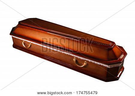 Wooden coffin isolated on white background with clipping path