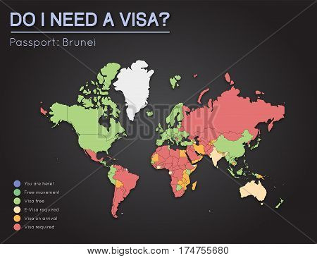 Visas Information For Nation Of Brunei Passport Holders. Year 2017. World Map Infographics Showing V