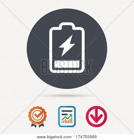 Battery power icon. Charging accumulator symbol. Report document, award medal with tick and new tag signs. Colored flat web icons. Vector