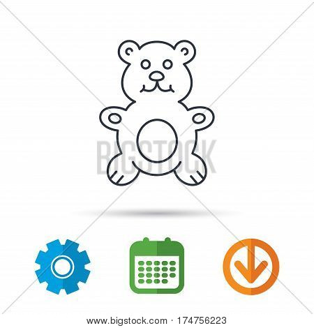 Teddy-bear icon. Baby toy sign. Plush animal symbol. Calendar, cogwheel and download arrow signs. Colored flat web icons. Vector