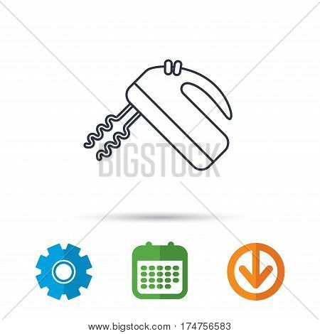 Blender icon. Mixer sign. Calendar, cogwheel and download arrow signs. Colored flat web icons. Vector