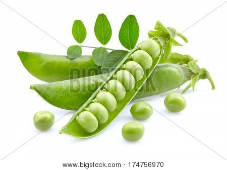 Green peas with leaf