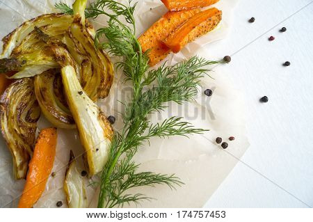 Roasted Fennel With Carrots. Sliced Fennel Oven Roasted In Olive Oil.