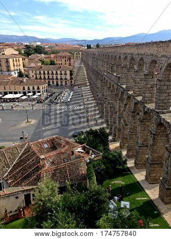 View of the aqueduct of Segovia, Spain, with Cityscape