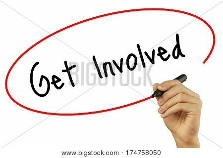 Man Hand Writing Get Involved With Black Marker On Visual Screen. Isolated On Background. Business,