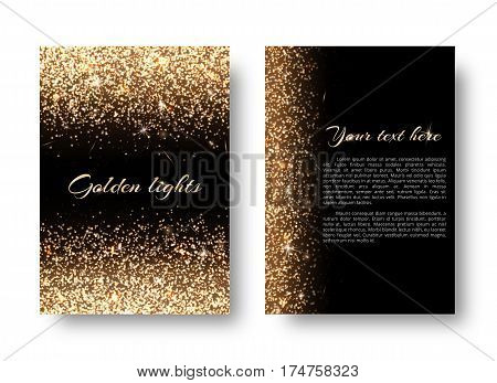 Glimmer background with bright light. Dust particles on a black backdrop.