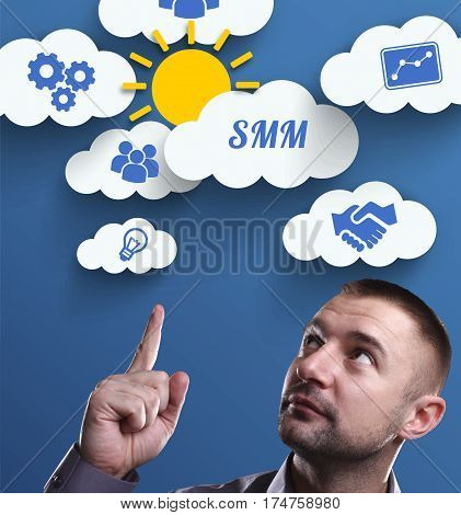 Business, Technology, Internet And Marketing. Young Businessman Thinking About: Smm