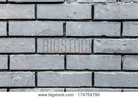 Old wall made of bricks with cement. Horizontal photo with free space area for text or design.