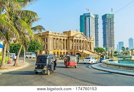 The palace of Presidential Secretariat Office located opposite the scenic Lion fountain on Galle Main Road stretching along the coast Colombo Sri Lanka.