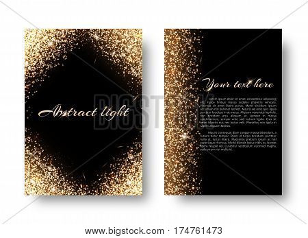 Glimmer background with light burst. Shiny gold on a black backdrop.