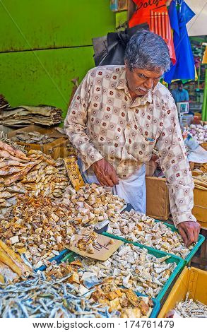 The Sun-dried Fish At Market Stall