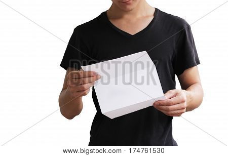 Man Reading Blank White Flyer Brochure Booklet. Leaflet Presentation. Pamphlet Hold Hands. Man Show