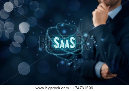 Software as a Service (SaaS, on-demand software) concept. Modern business model where software is licensed on a subscription basis.
